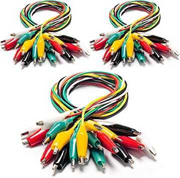 Cleqee 30PCS Colorful Dual Alligator Clips Test Leads Kits 50cm Double-ended Crocodile Clamps Test Cables
