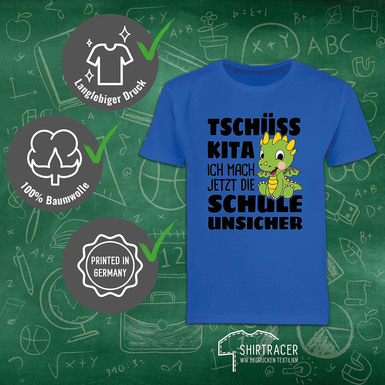 Shirtracer Tsch/üss Kita ich mach jetzt die Schule unsicher Mit rosa Drachen Einschulung und Schulanfang M/ädchen Kinder T-Shirt