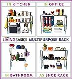 LivingBasics Heavy Duty Rust-Free Stainless Steel Adjustable Multipurpose Stand for Kitchen Storage/Microwave & OTG Rack/Shoe Rack/Bathroom Stand/Office Organizer/Bookshelf (Cyan Blue)