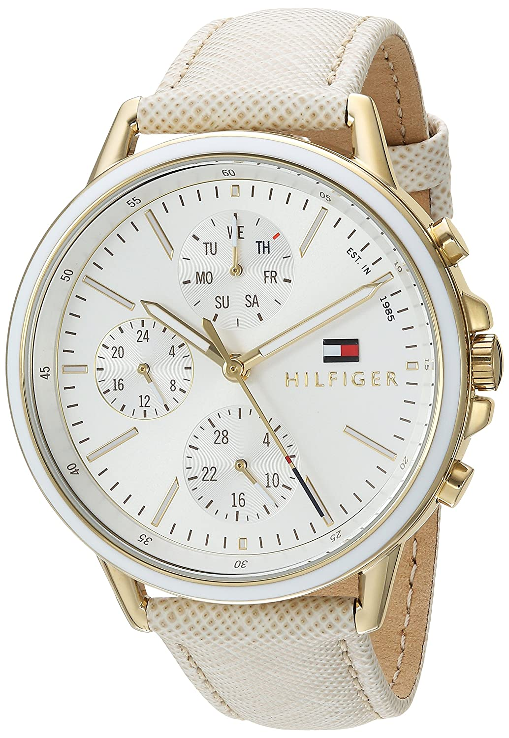 4a840e6db Amazon.com: Tommy Hilfiger Women's Casual Sport Quartz Watch with Leather  Calfskin Strap, Champagne, 17 (Model: 1781790): Tommy Hilfiger: Watches