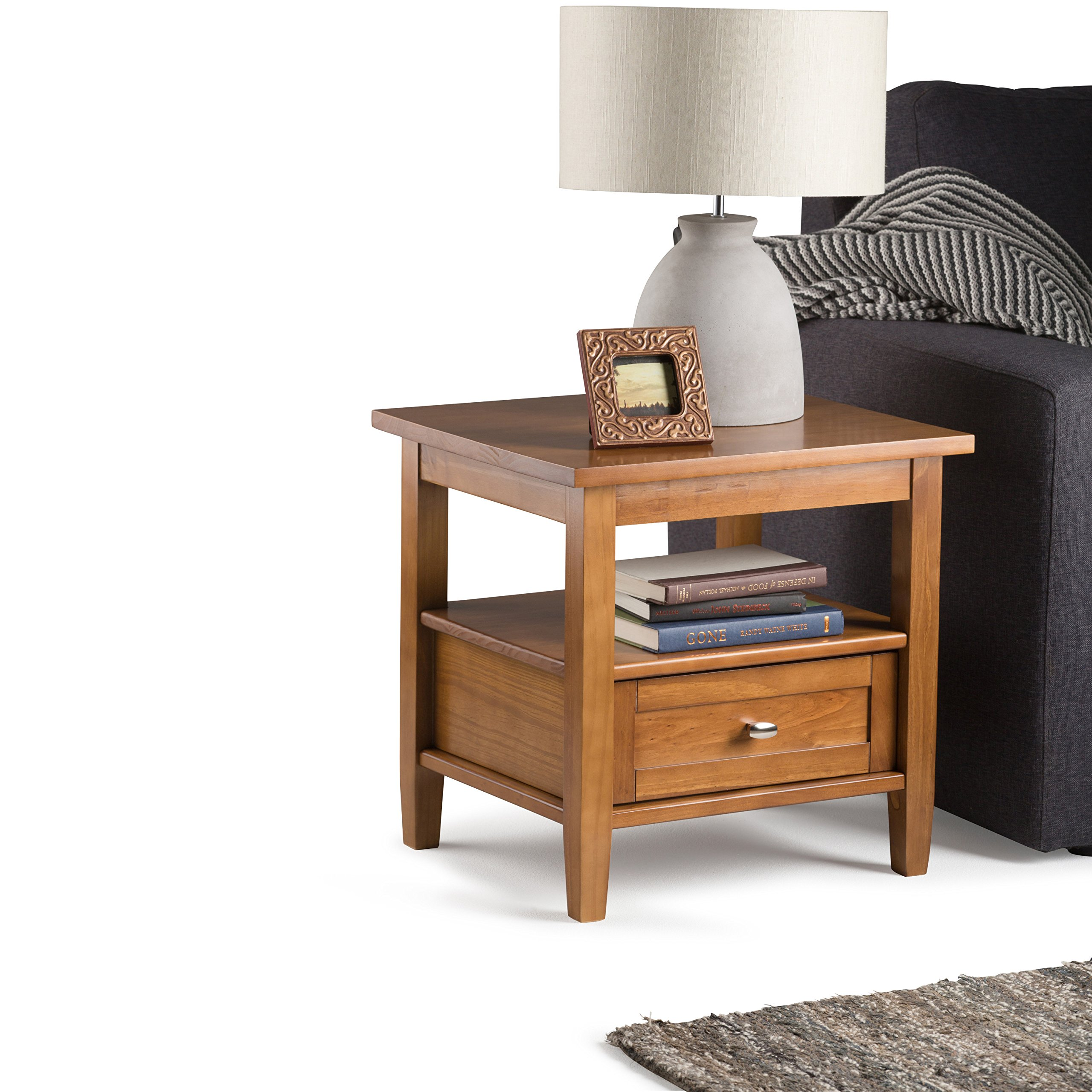 Simpli Home Warm Shaker Solid Wood End Table, Honey Brown by Simpli Home (Image #2)