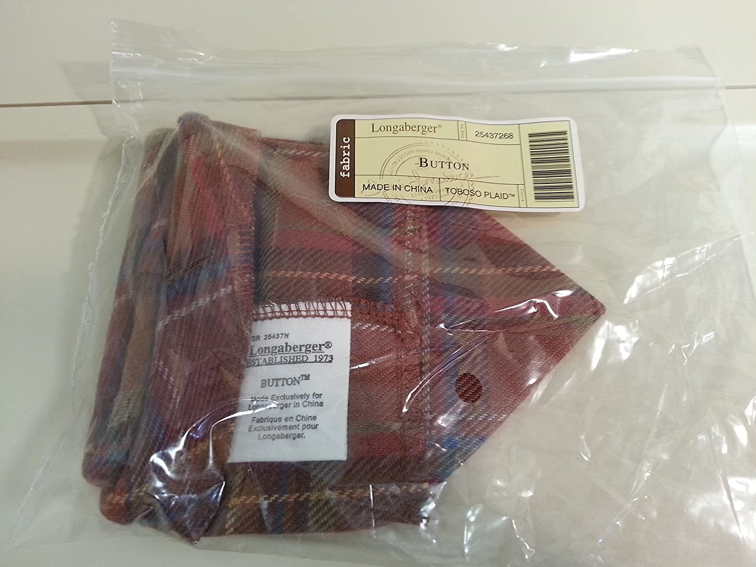 Longaberger Button Basket Toboso Plaid Fabric Drop in Style Liner New In Bag