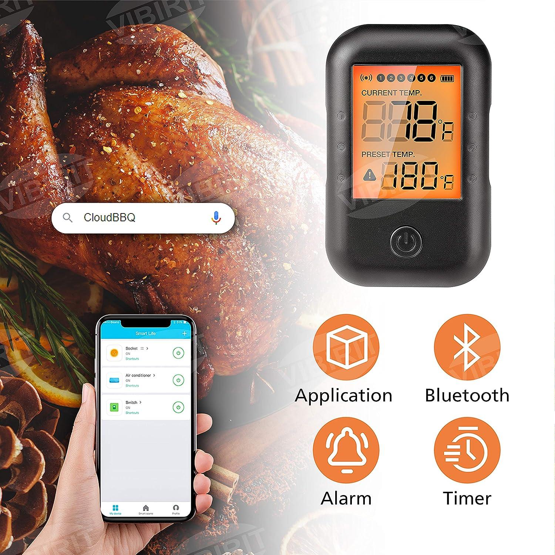 6 Ports Digitales Grillthermometer mit gro/ßem Display Steak-Thermometer f/ür den K/üchengrill Essen Sie Milch VIBIRIT Smart Wireless Barbecue Thermometer