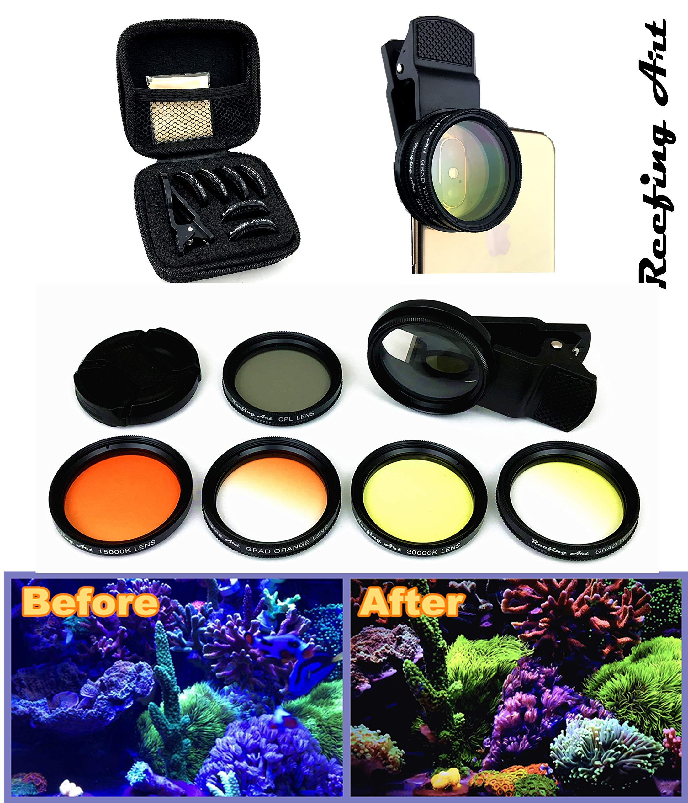 Reefing Art Coral Lens Professional Photography 6Lenses Kit frag Rack Aquarium