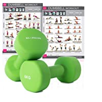 KG Physio Premium quality dumbells for women and men, sold as a set of 2 (FREE BONUS A3 WORKOUT POSTER) *Anti-Roll* design ideal for home weights workout
