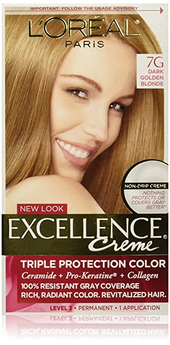 Buy LOreal Excellence Creme Hair Color, 7G Dark Golden Blonde 1 EA ...