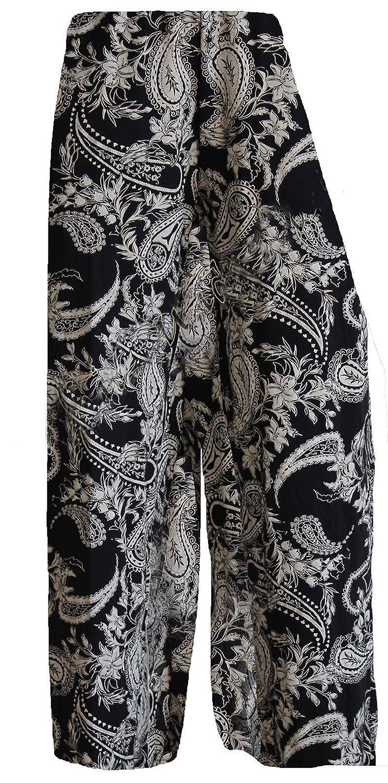 GirlzWalk @ Women Paisley Wide Leg Black Ladies Palazzo Trouser Pants Plus Size