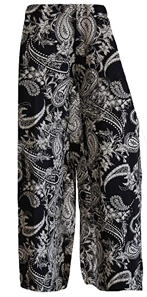 9b81c983b GirlzWalk Women Paisley Wide Leg Black Ladies Palazzo Trouser Pants Plus  Size