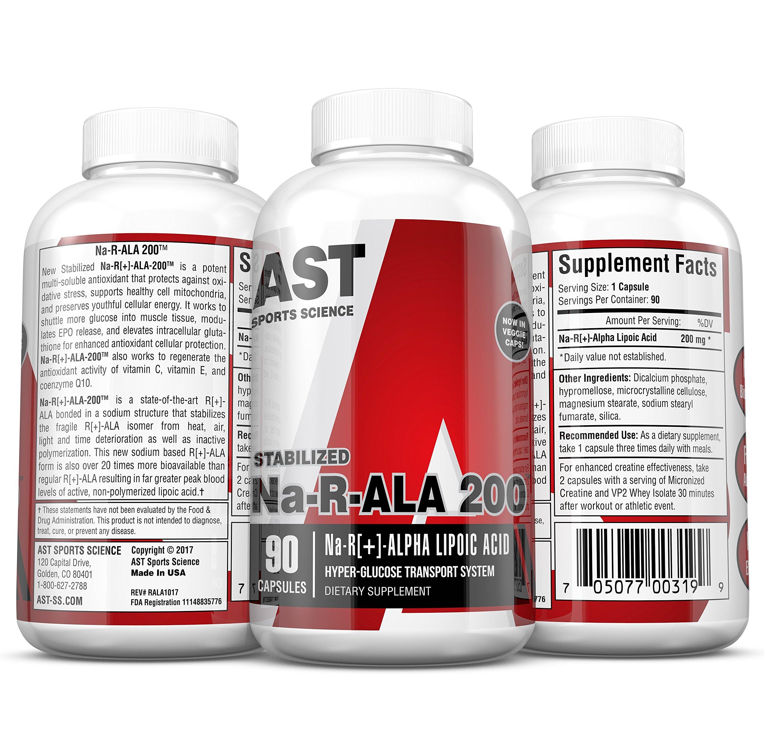 AST Sports Science Na-r-Ala 200 R[+]-Alpha Lipoic Acid Capsules, 90 Count