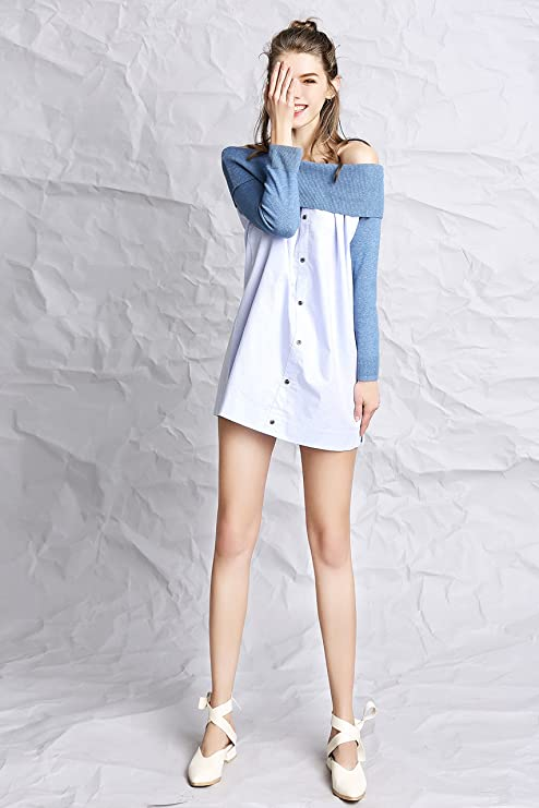 20a25190b7 BeMoreWithLess Women s 3 4 Sleeve Off Shoulder Stitching Ruched Button  Front Denim Dress at Amazon Women s Clothing store