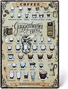 UNIQUELOVER Coffee Bar, Coffee Around The World Metal Signs Kitchen Decor and Accessories 8 X 12 Inches, Small