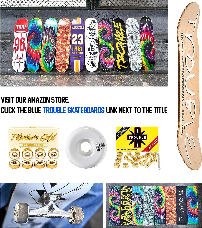 Trouble 9 x 33 Skateboard Grip Tape Sheet Bubble Free Skateboard Griptape Black SB2