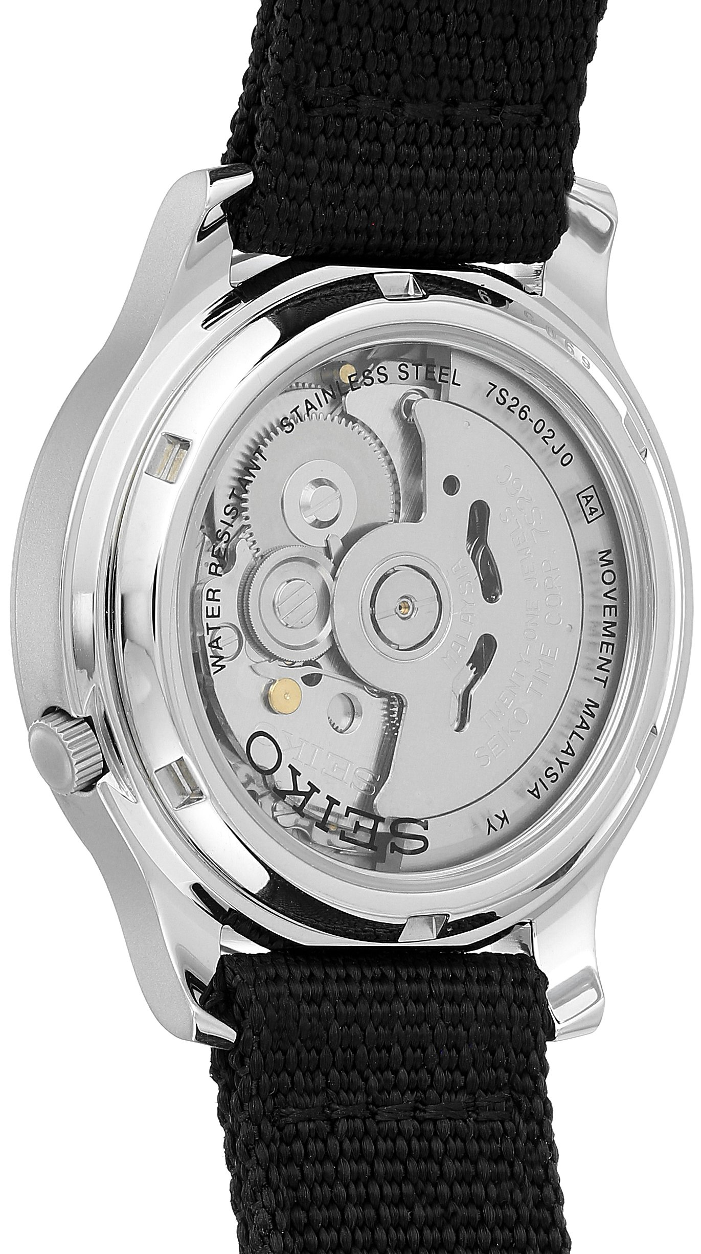 Seiko Men's SNK809 Seiko 5 Automatic Stainless Steel Watch with Black Canvas Strap by Seiko (Image #2)