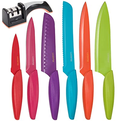Stainless Steel Kitchen Knife Set – BONUS Sharpener - 6 Knives - Chef, Bread, Carving, Paring, Utility and Santoku Knife - Cutlery Sets - Multicolor