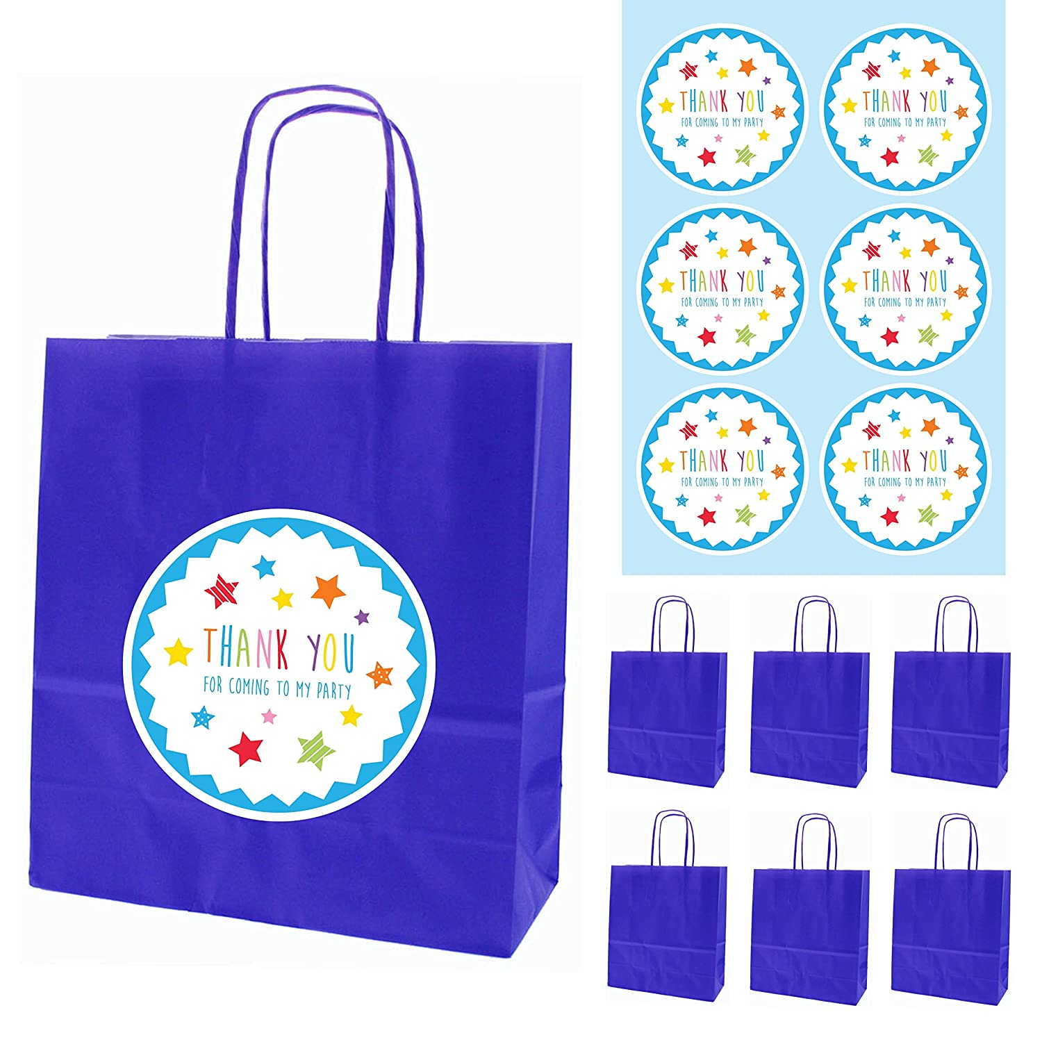 6 Royal Blue Paper Party Bags with Twisted Paper Handles & 6 'Thank You For Coming To My Party' Stickers (6 Blue Bags & Stars Stickers) The Curious Caterpillar