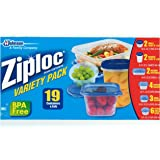 Ziploc Containers - 19 Piece Variety Pack - Twist 'N Loc Bowls, Rectangles, Squares