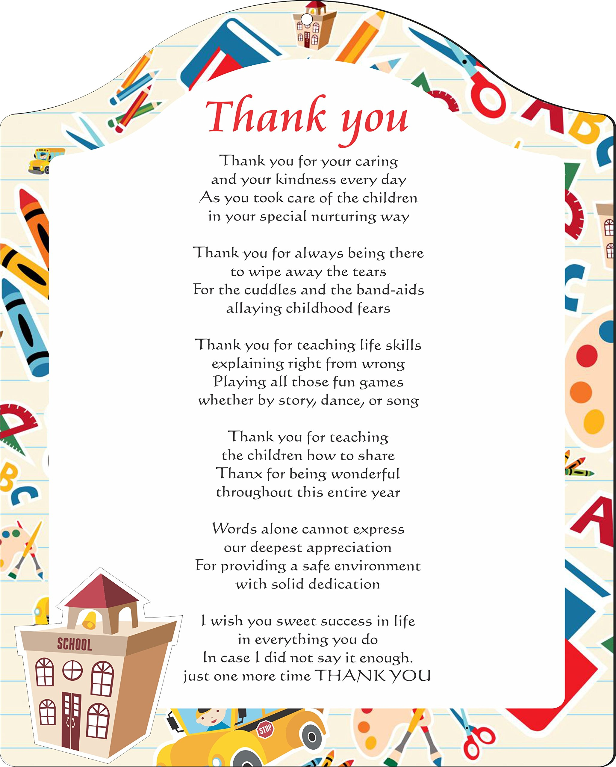 Rikki Knight Thank You Teacher on School Background Touching 8x10 Poem Plaque with Arch Top