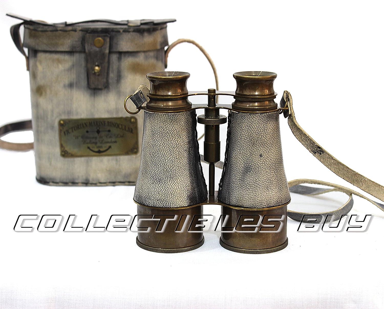 (Gray) - Victorian Marine Brass Leather Binocular Sailor Instrument London 1915 (Grey) B01GFWSVG6 グレー グレー