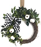 Fall Wreath with Buffalo Check Ribbon and White Pumpkins Grapevine Wreath