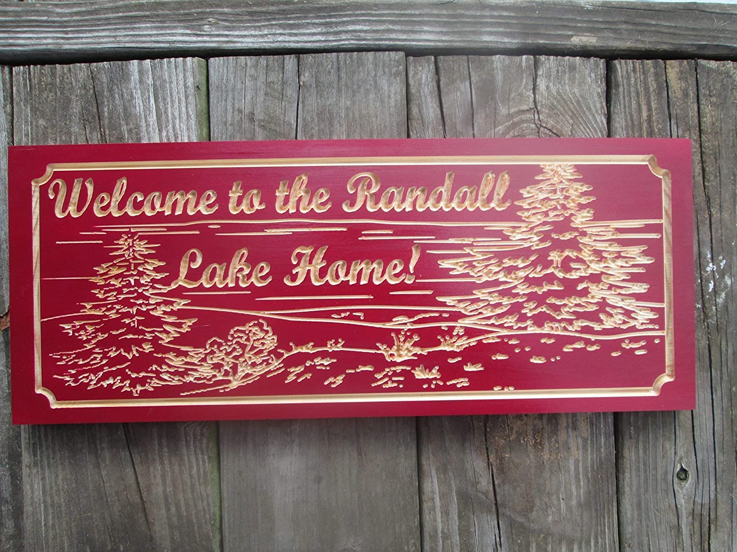 Amazon com lake house or cabin sign family name sign custom carved wooden signs c121 handmade
