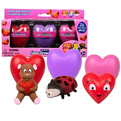 SCS Direct Super Grow Eggs Heart Shaped Valentine's Day Eggs 3pack- Great for Party Favors, Gifts, Educational Toys: Toys & Games