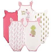 Hudson Baby Unisex Baby Sleeveless Cotton Bodysuits, Girl Pineapple 5-Pack, 0-3 Months (3M)