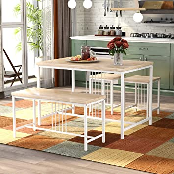 Amazon Com Softsea Industrial Kitchen Dining Table Set With Bench And Two Stools Wooden Table Top And Metal Frame White Table Chair Sets