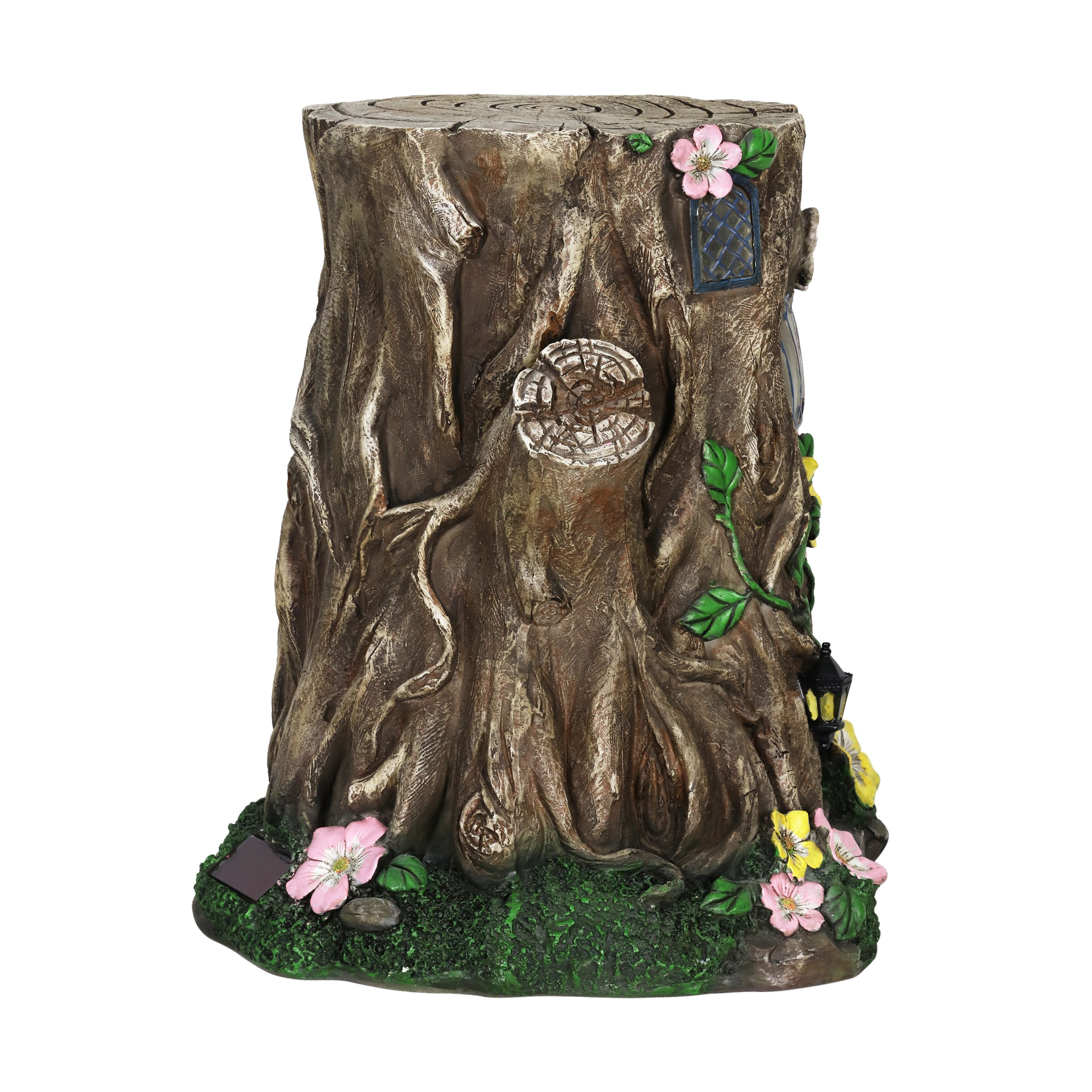 Exhart Gardening Gifts –Fairy House Tree Stump Statue - Large Garden Statues w/Solar Garden Lights, Outdoor Use, Fairy Themed Garden Décor, Weather Resistant Resin Statues by Exhart (Image #7)