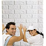 Arthome White Brick 3D Wall Panels Peel and Stick Wallpaper for Living Room Bedroom Background Wall Decoration (10 Pack, Whit
