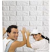 Arthome 10Stuks Zelfklevend 3D-Baksteenbehang, Waterdicht Dik Wit 3D-Steenbehang, voor DIY Home Decor(77cm x 70cm,5.3㎡)
