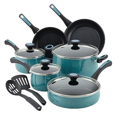 Paula Deen Riverbend Aluminum Nonstick Cookware Set, 12-Piece, Gulf Blue Speckle
