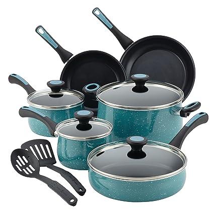 Paula Deen Riverbend Aluminum Nonstick Cookware Set 12 Piece Gulf Blue Speckle