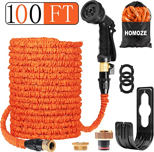 Watering Cleaning Homoze Garden Hose Expandable Hose Pipe 100ft Flexible And Expanding Garden Water Hosepipe With Brass Fittings 8 Function Spray Nozzle Hose Hanger For Garden