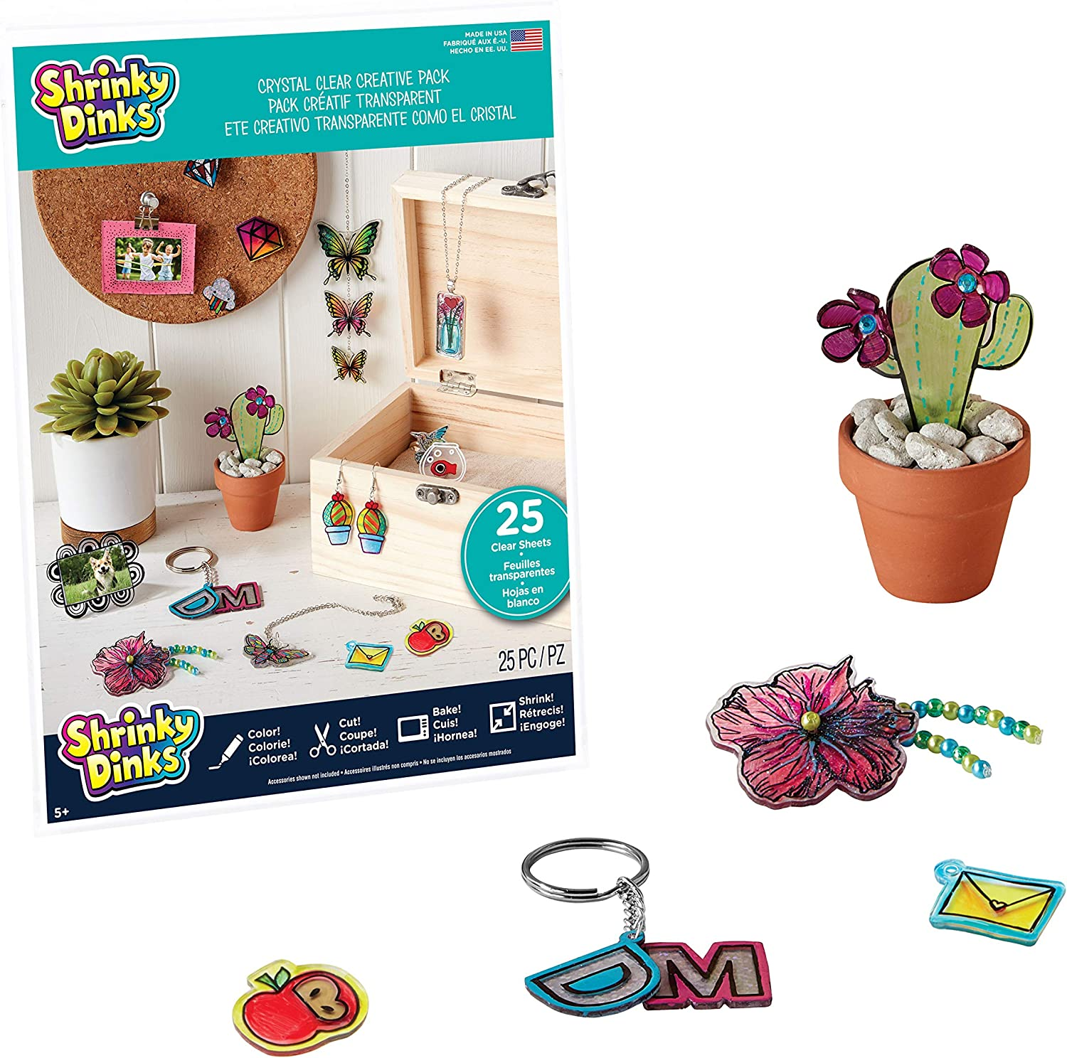 Shrinky Dinks Creative Pack, 25 Sheets Crystal Clear, Kids Art and Craft Activity Set