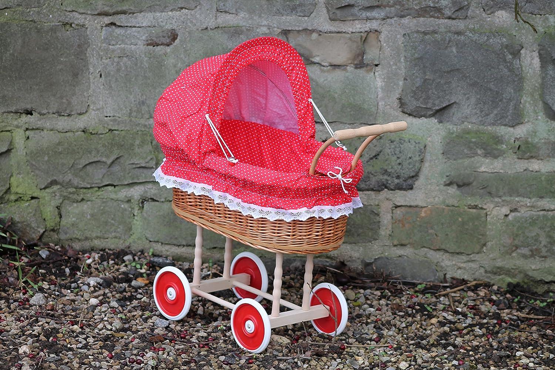 Amazon.es: Muñeca carro de mimbre con rojo con puntos y mango de madera... extra estable...: Juguetes y juegos