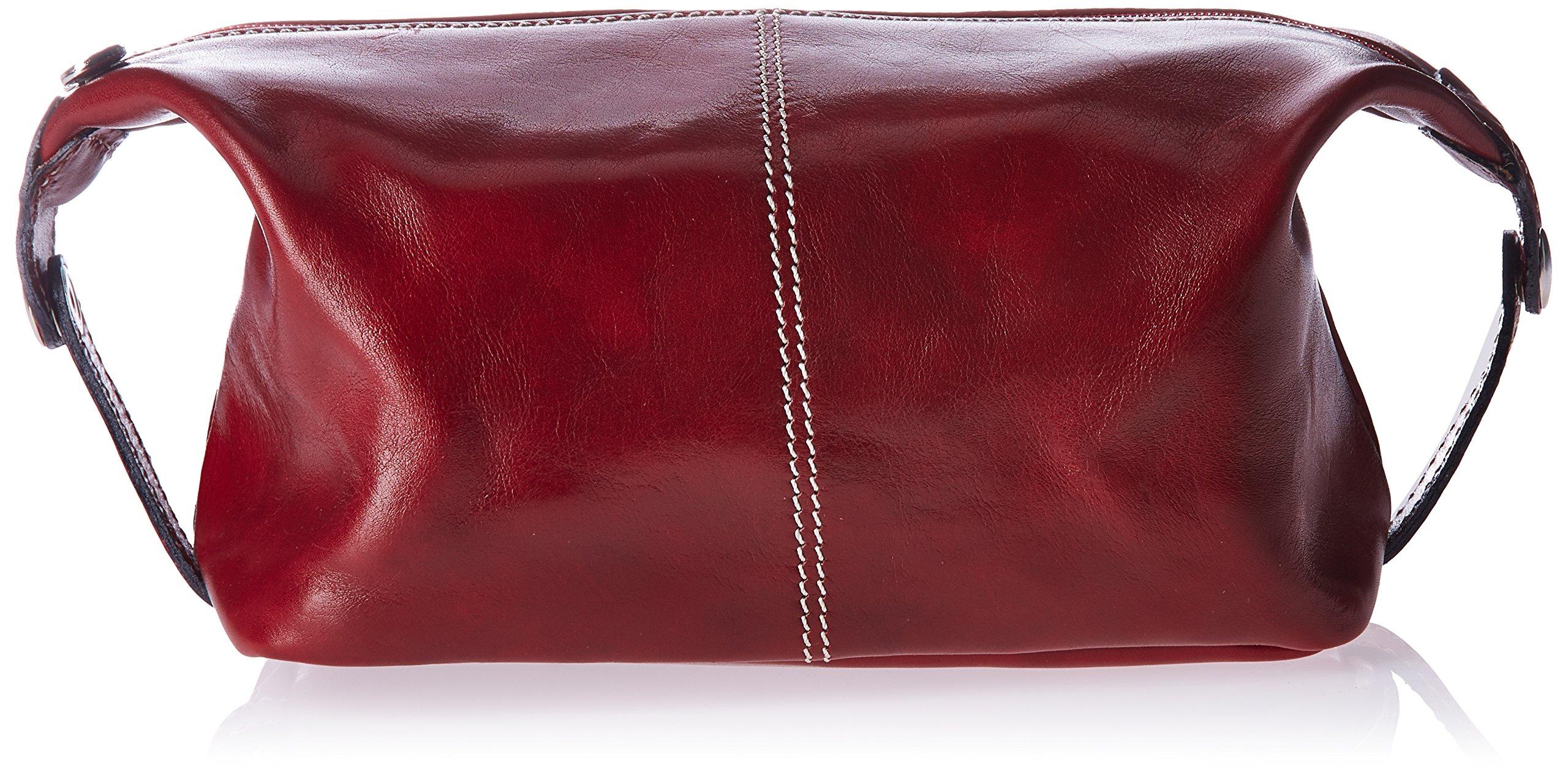 Alberto Bellucci Men's Italian Leather Toiletry Travel Dopp Kit Case, Red