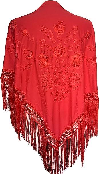 La Señorita Mantones bordados Flamenco Manton de Manila rojo flores rojo