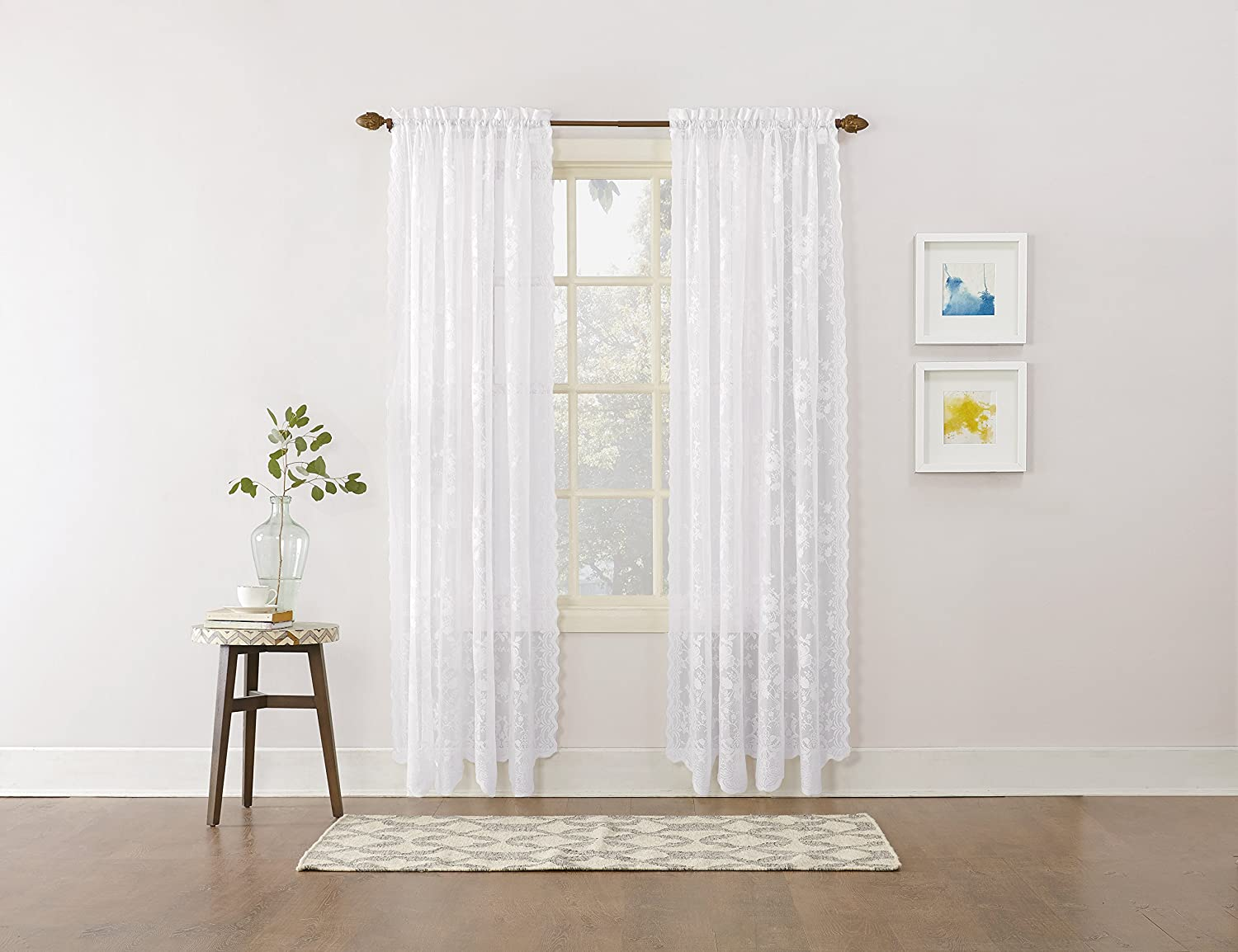 "No. 918 Alison Floral Lace Sheer Rod Pocket Curtain Panel, 58"" x 84"", White"