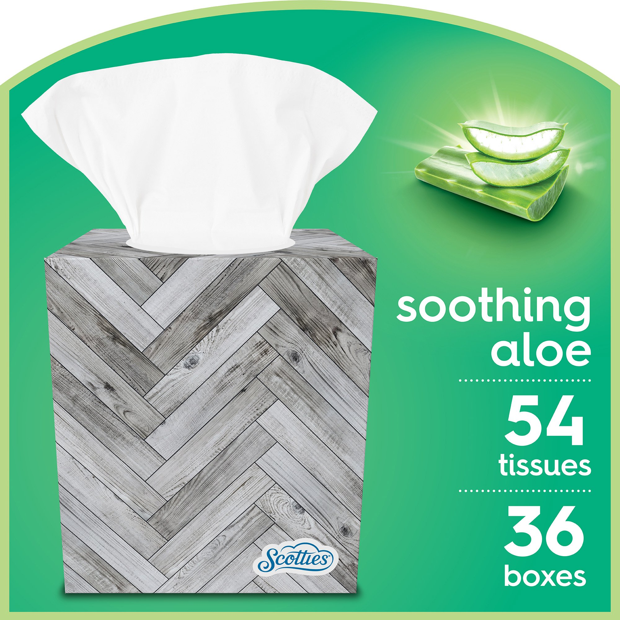 Scotties Soothing Aloe Facial Tissues, 54 Tissues per Box (Pack of 36)