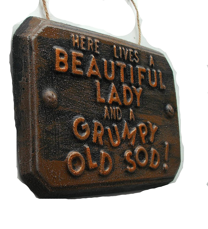 'Blackboard with Short Funny Beautiful Lady–Grumpy Old Sod (Beautiful Women–Muffiger Age Guy) Garden Ornament ClassCast