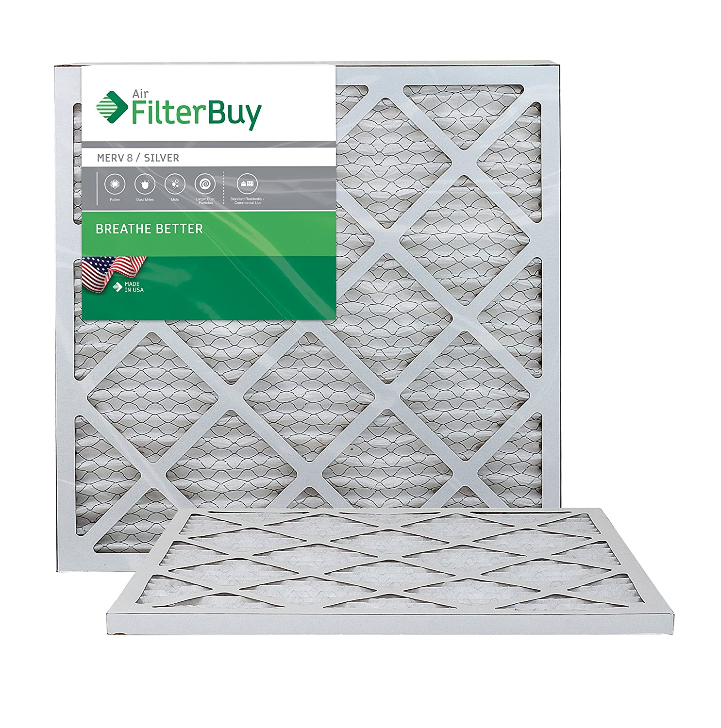 FilterBuy 20x21.5x1 MERV 8 Pleated AC Furnace Air Filter, (Pack of 2 Filters), 20x21.5x1 – Silver