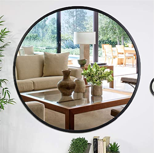 Kinger Home Black Round Mirror 20 Inch, Large Circle Vanity Mirror for Bedroom, Bathroom, Living Room, Entryway and Wall Decor