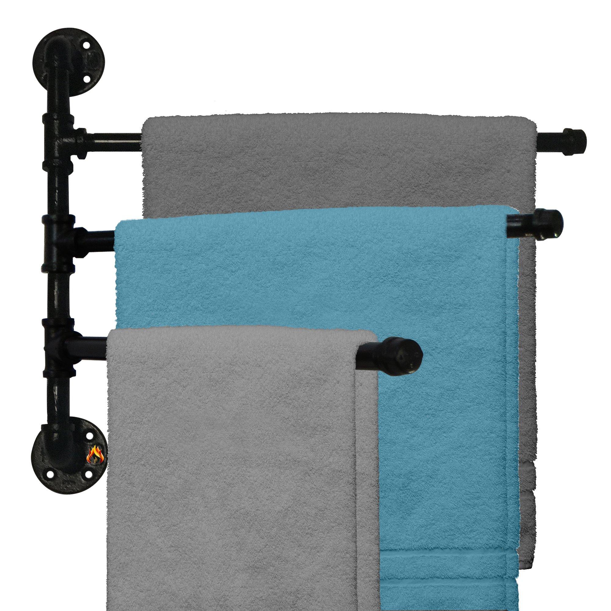 Outdoor Towel Rack For Pool or Bathroom Use - 3 Arm Swivel Towel Rack 20'' - Wall Mounted Towel Holder