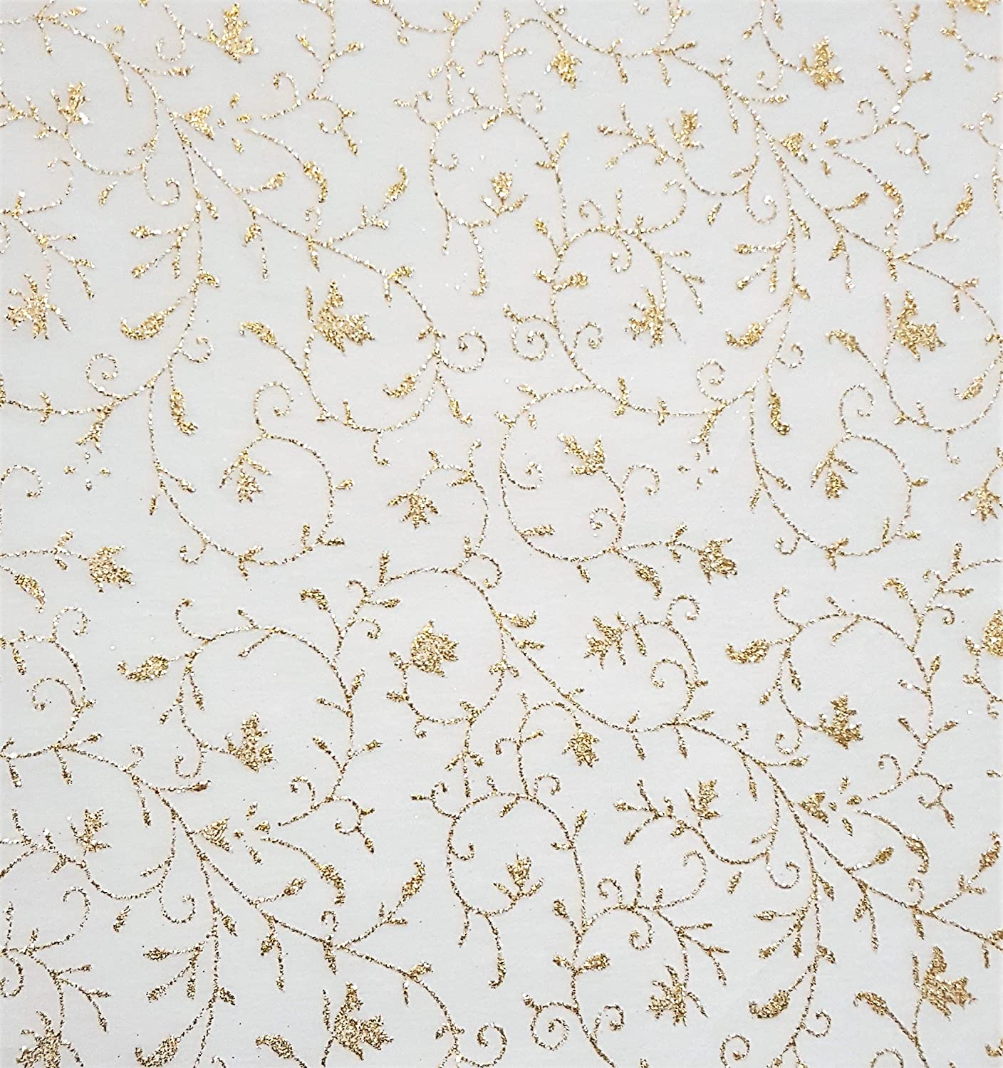 A4 GLITTER PATTERNED White-Gold Floral Decorative 5 sheets D I Y Wedding Crafts Glitterati