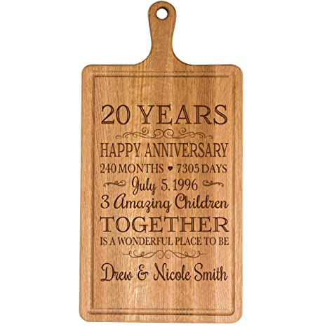 LifeSong Milestones Personalized 20th Year for Him Her Wife Husband Couple Cheese Cutting Board Customized with