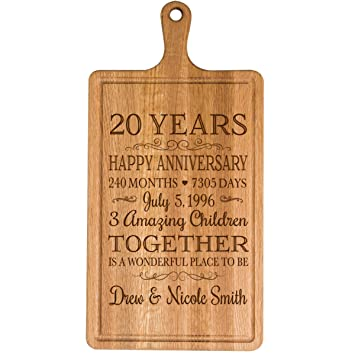 ... Personalized 20th Year for Him Her Wife Husband Couple Cheese Cutting Board Customized with Year Established Dates to Remember for Wedding Gift Ideas: ...