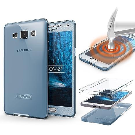 Funda Galaxy A3 (2015) Urcover Carcasa Protectora 360 Grados, Cover protección completa con puntos matrix, Case Samsung Galaxy A3 (2015) TPU en Azul
