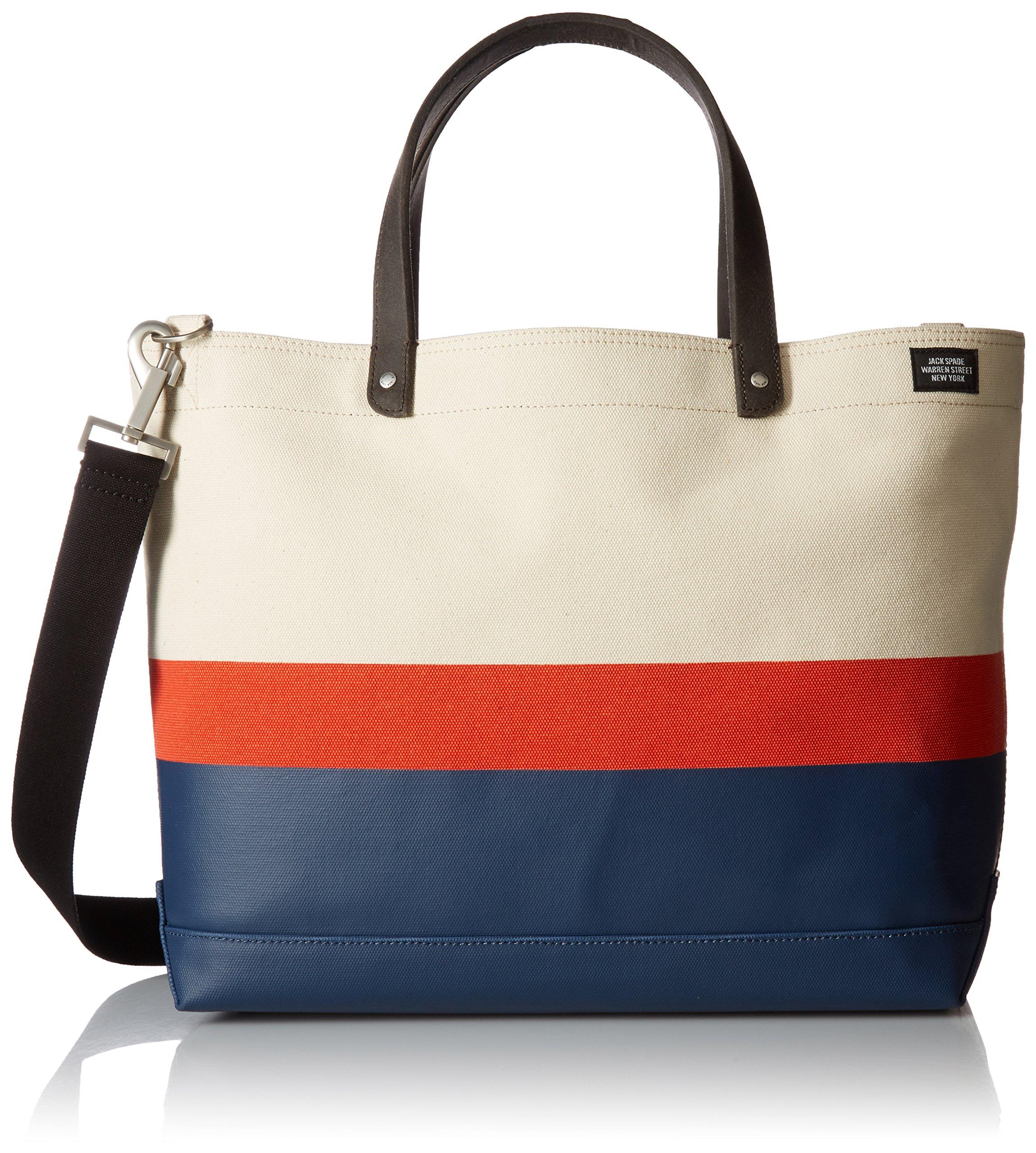 Jack Spade Men's Horizontal Stripe Coal Bag, Natural/Orange/Navy