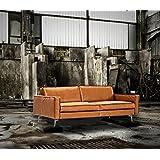 Sofa Echtleder Rodeo Anilin Cognac Vintagepatina 3 Sitzer 210 cm Gauchostyle
