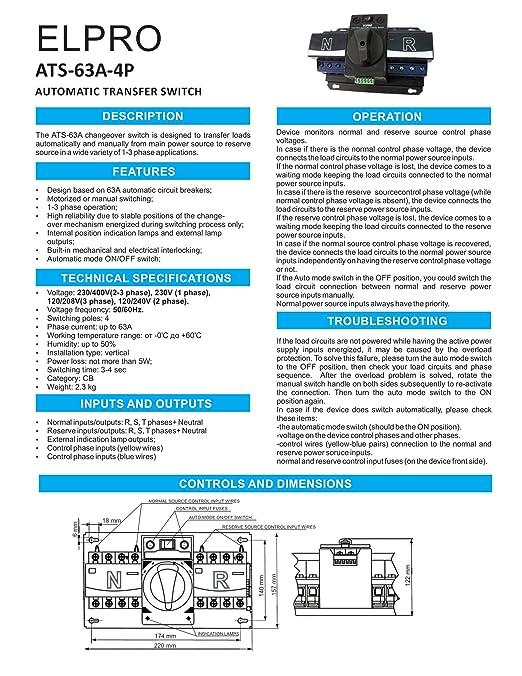Amazon com: ELPRO ATS-63A, 120/208V 50-60Hz Automatic